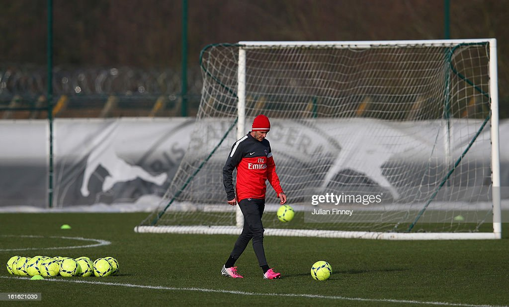 David Beckham of Paris Saint-Germain FC is seen as he attends his first training session on February 13, 2013 in Paris, France.