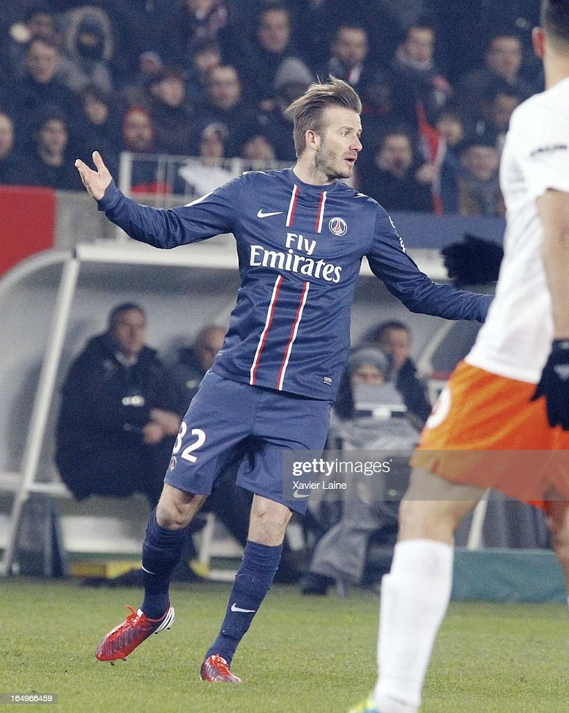 David Beckham of Paris Saint-Germain reacts during the French League 1 between Paris Saint-Germain FC and Montpellier Herault SC, at Parc des Princes on March 29, 2013 in Paris, France.