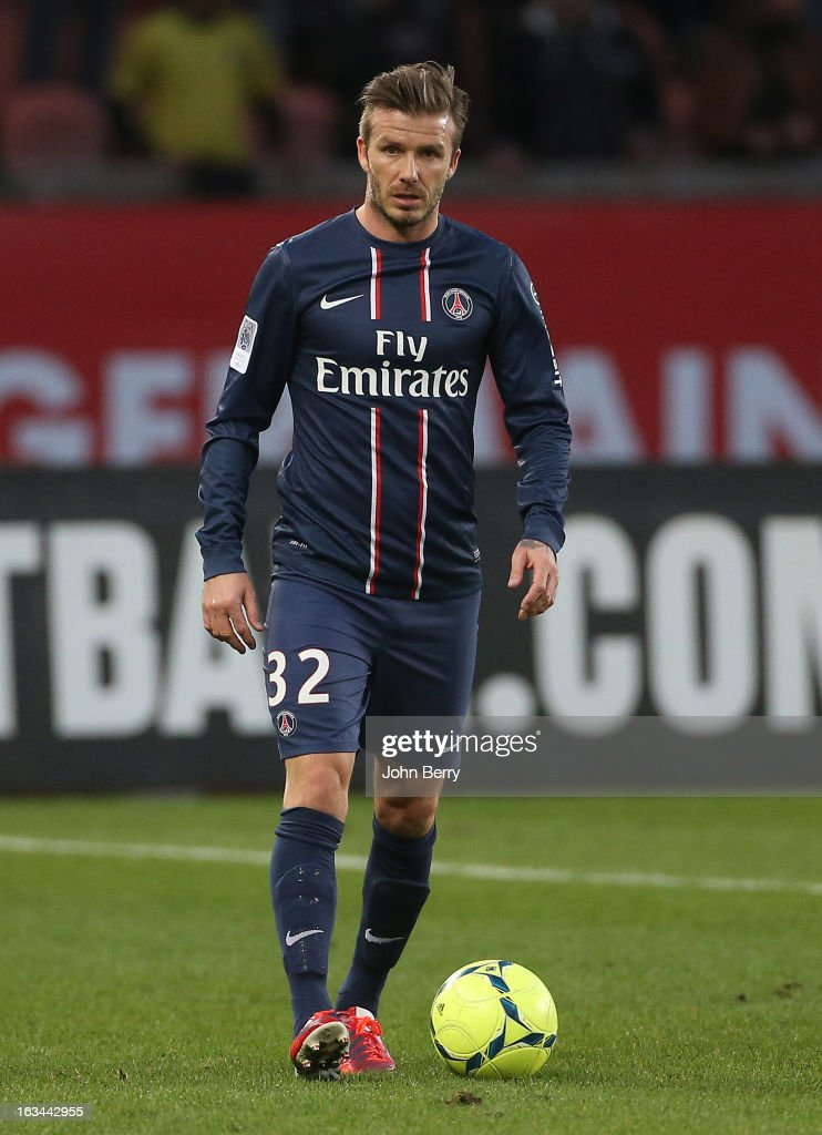 David Beckham of PSG in action during the french Ligue 1 match between Paris Saint-Germain FC and AS Nancy-Lorraine ASNL at the Parc des Princes stadium on March 9, 2013 in Paris, France.