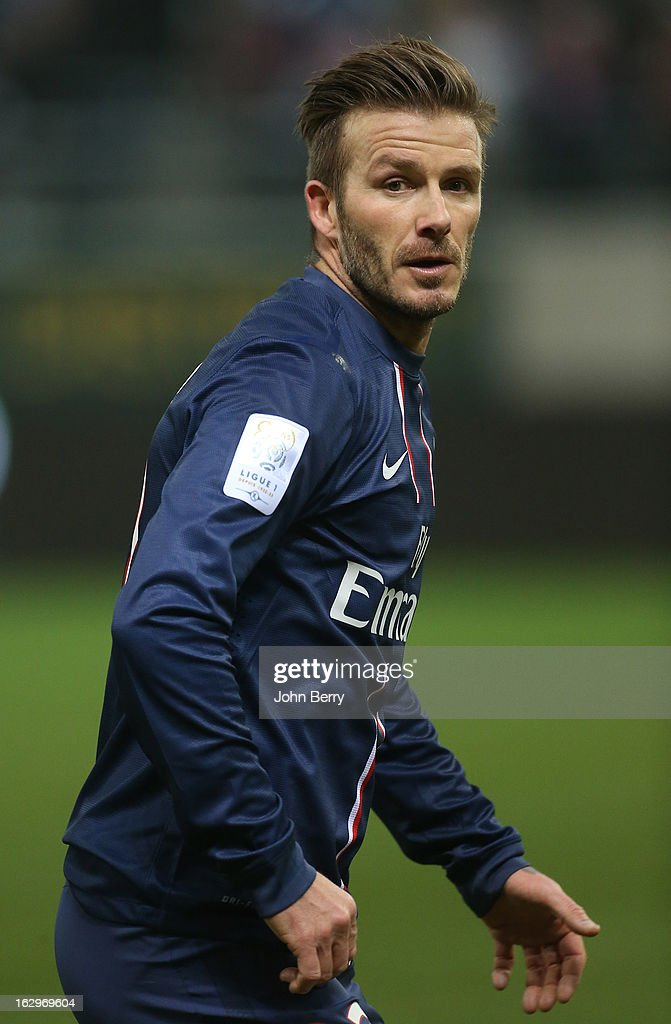 David Beckham of PSG in action during the french Ligue 1 match between Stade de Reims Champagne FC and Paris Saint-Germain FC at the Stade Auguste Delaune on March 2, 2013 in Reims, France.