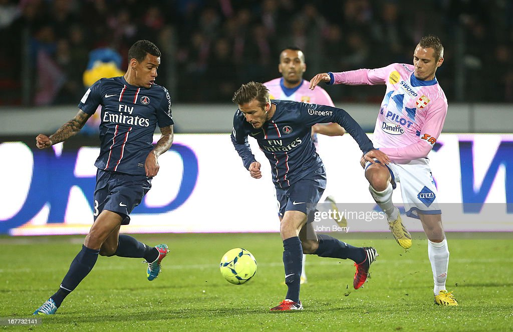 David Beckham of PSG in action during the Ligue 1 match between Evian Thonon Gaillard FC, ETG, and Paris Saint Germain FC, PSG, at the Parc des Sports d'Annecy on April 28, 2013 in Annecy, France.