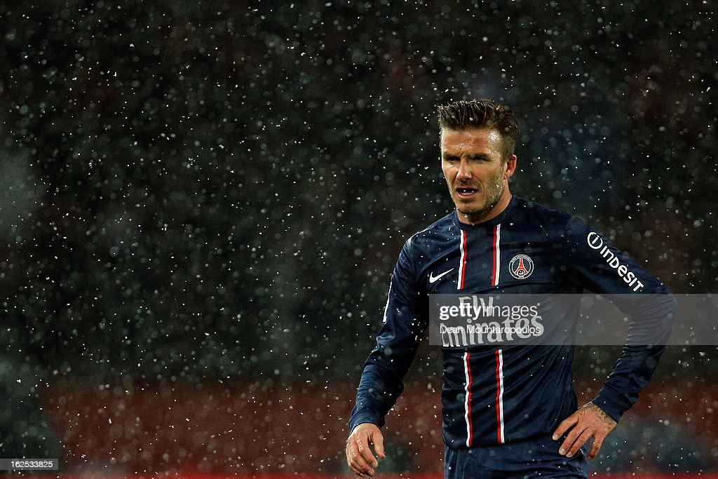 David Beckham of PSG in action during the Ligue 1 match between Paris Saint-Germain FC and Olympique de Marseille at Parc des Princes on February 24, 2013 in Paris, France.
