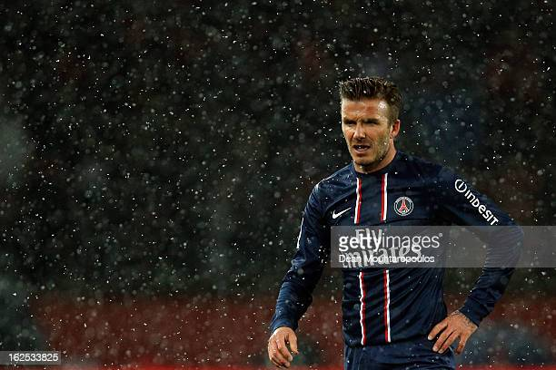 David Beckham of PSG in action during the Ligue 1 match between Paris SaintGermain FC and Olympique de Marseille at Parc des Princes on February 24...