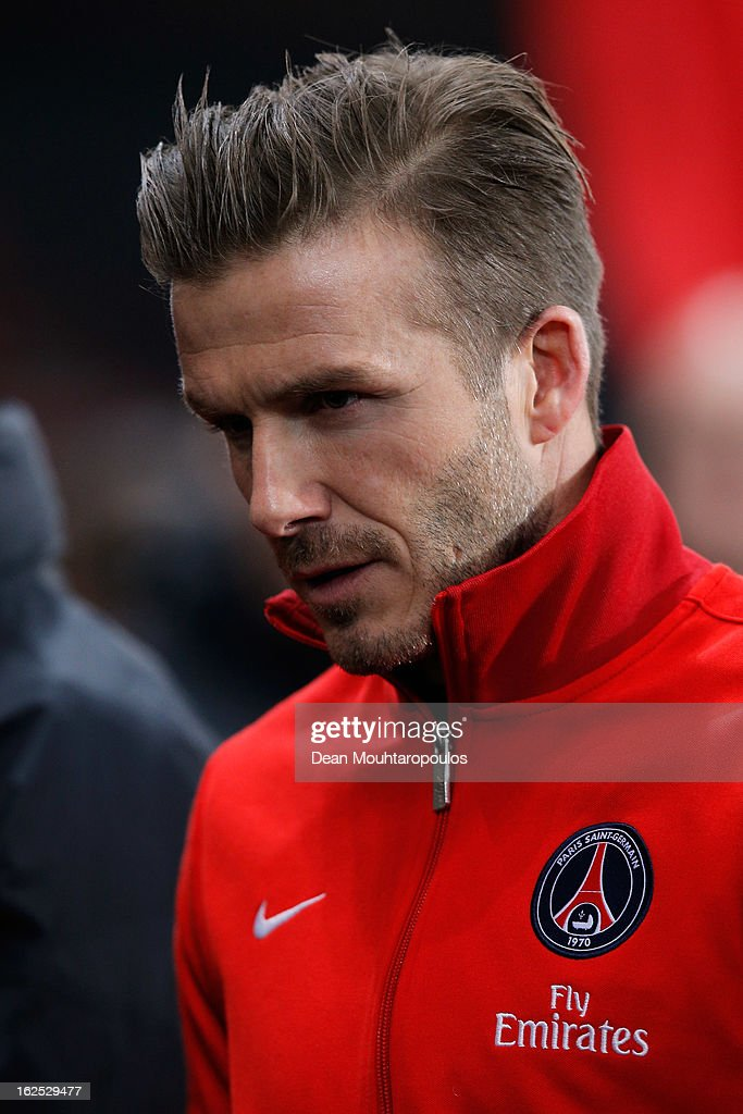 David Beckham of PSG is pictured on the bench prior to the Ligue 1 match between Paris Saint-Germain FC and Olympique de Marseille at Parc des Princes on February 24, 2013 in Paris, France.