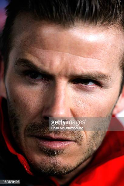 David Beckham of PSG is pictured on the bench prior to the Ligue 1 match between Paris SaintGermain FC and Olympique de Marseille at Parc des Princes...