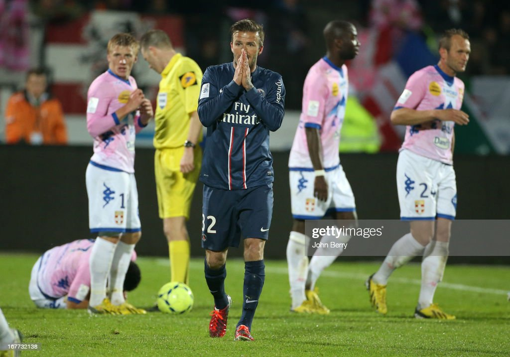 David Beckham of PSG reacts after receiving a direct red card from referee Olivier Thual during the Ligue 1 match between Evian Thonon Gaillard FC, ETG, and Paris Saint Germain FC, PSG, at the Parc des Sports d'Annecy on April 28, 2013 in Annecy, France.