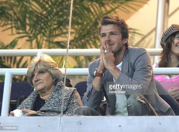 David Beckham of Real Madrid and his mother Sandra Beckham watch the La Liga match between Real Madrid and Real Zaragoza at the Santiago Bernabeu...