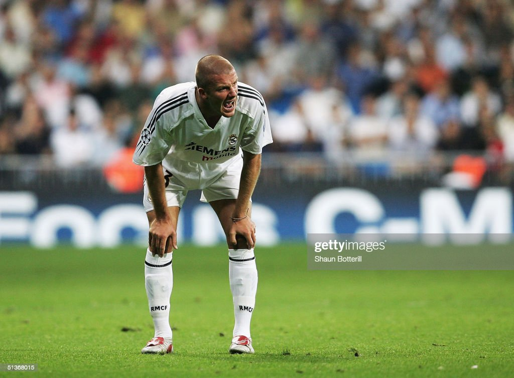David Beckham of Real Madrid catches his breath during the UEFA Champions League Group B match between Real Madrid and Roma at the Santiago Bernabeu Stadium on September 28, 2004 in Madrid, Spain.