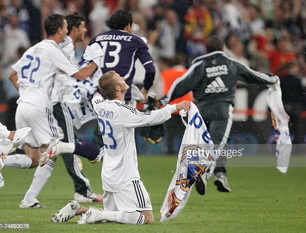 David Beckham of Real Madrid celebrates after Real won the Primera Liga after the Primera Liga match between Real Madrid and Mallorca at the Santiago...