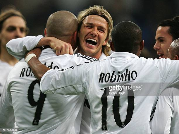 David Beckham of Real Madrid celebrates with Ronaldo and teammates after Ronaldo scored a goal during the Primera Liga match between Real Madrid and...