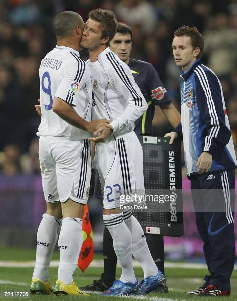 David Beckham of Real Madrid comes on for Ronaldo in the Primera Liga match between Real Madrid and Celta Vigo at the Santiago Bernabeu stadium on...