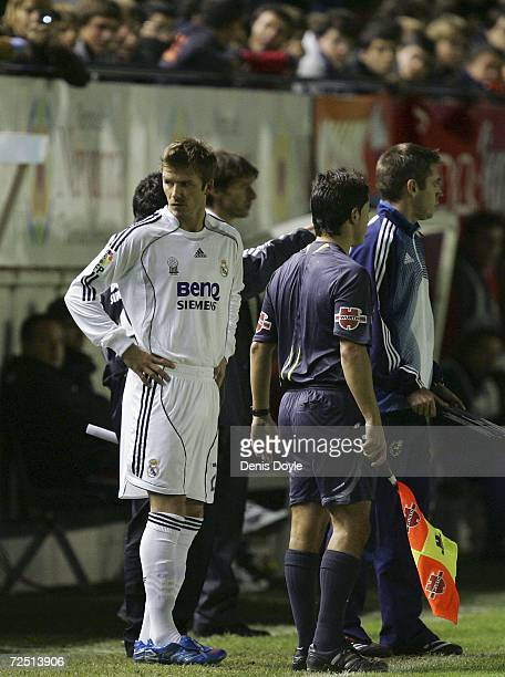 David Beckham of Real Madrid comes on late in the second half during the Primera Liga match between Osasuna and Real Madrid at the Reyno de Navarra...