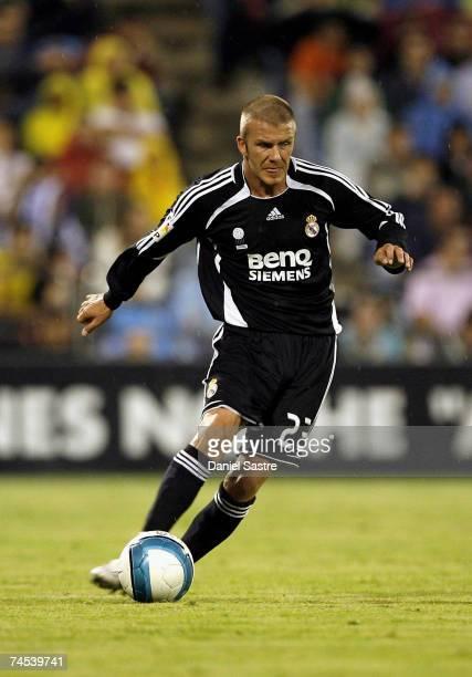 David Beckham of Real Madrid controls the ball during the La Liga match between Real Zaragoza and Real Madrid at the Romareda stadium on June 9, 2007...
