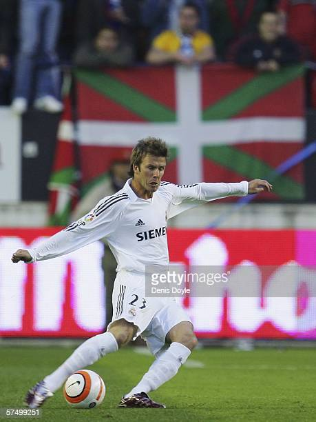 David Beckham of Real Madrid crosses the ball during the Primera Liga match between Osasuna and Real Madrid at the Reyno de Navarra stadium on April...