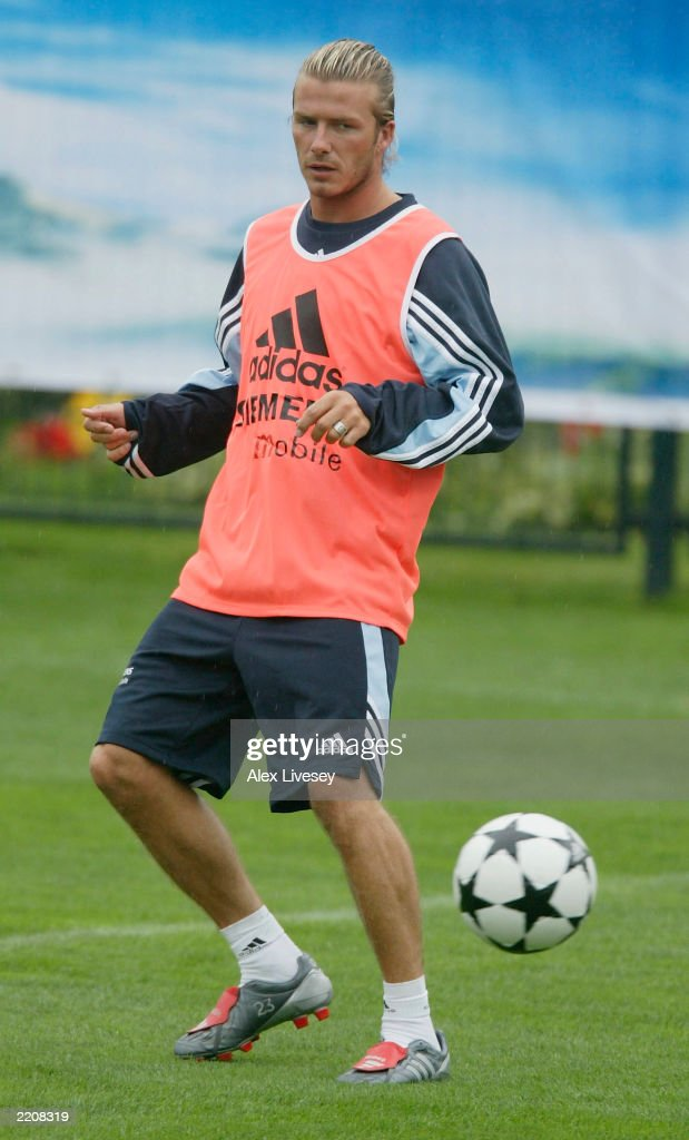 David Beckham of Real Madrid during a training session at the Hongta Sports Centre in Kunming, China, on July 26, 2003 where they will train during their Tour of Asia.