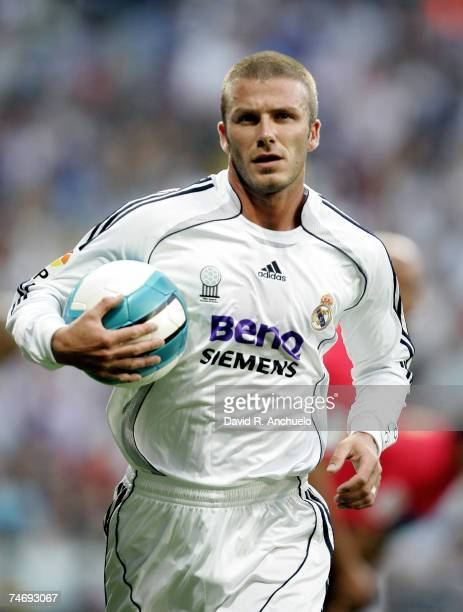 David Beckham of Real Madrid during the La Liga match between Real Madrid and Mallorca at the Santiago Bernabeu stadium on June 17 2007 in Madrid...