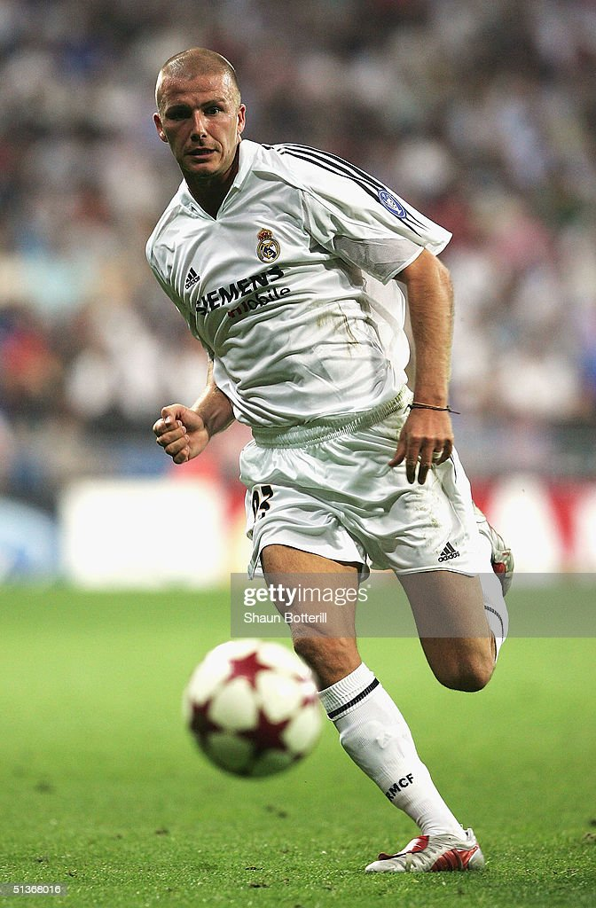 David Beckham of Real Madrid during the UEFA Champions League Group B match between Real Madrid and Roma at the Santiago Bernabeu Stadium, on September 28, 2004 in Madrid, Spain.