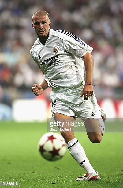 David Beckham of Real Madrid during the UEFA Champions League Group B match between Real Madrid and Roma at the Santiago Bernabeu Stadium on...
