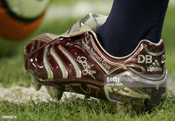 David Beckham of Real Madrid has the names of his three children Brooklyn Romeo and Cruz written on his new Predator boots during a Primera Liga...