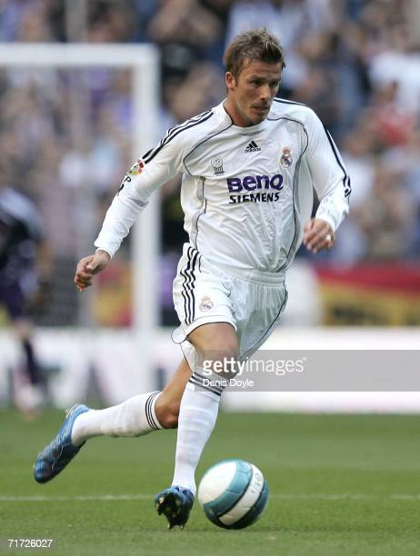 David Beckham of Real Madrid in action during a Primera Liga soccer match between Real Madrid and Villarreal at the Santiago Bernabeu stadium on...