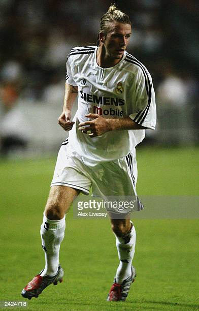 David Beckham of Real Madrid in action during the Pre-Season Friendly match between Hong Kong XI and Real Madrid held on August 8, 2003 at the Hong...