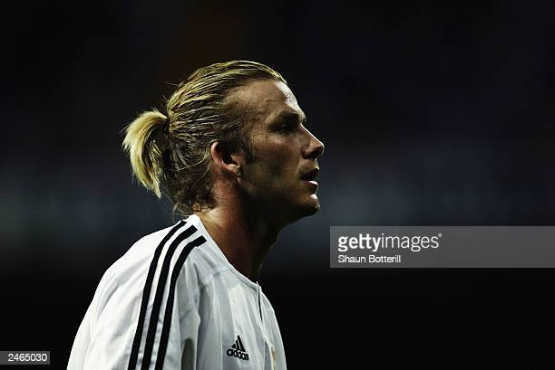 David Beckham of Real Madrid in action during the Spanish Primera Liga match between Real Madrid and Real Betis held on August 30 2003 at the...