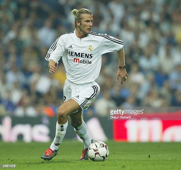 David Beckham of Real Madrid in action during the Spanish Primera Liga match between Real Madrid and Valladolid at the Santiago Bernabeu Stadium on...