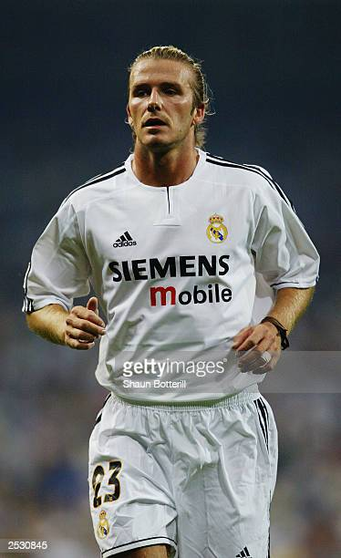 David Beckham of Real Madrid in action during the Spanish Primera Liga match between Real Madrid and Valladolid on September 13 2003 at the Santiago...