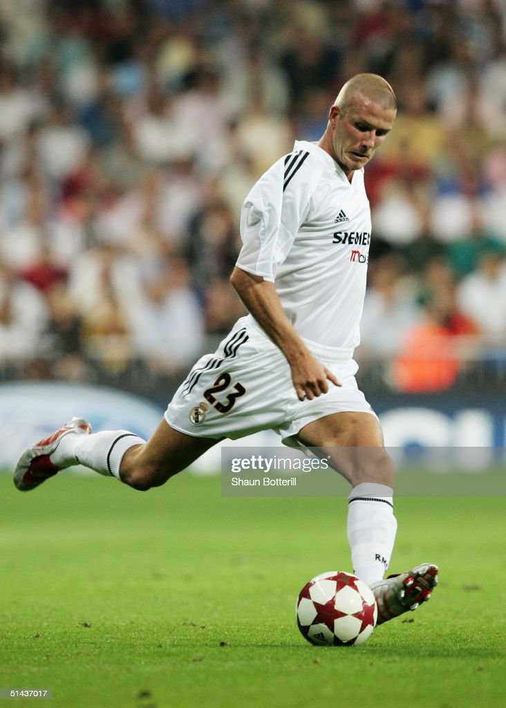 David Beckham of Real Madrid in action during the UEFA Champions League Group B match between Real Madrid and Roma at the Santiago Bernabeu Stadium on September 28, 2004 in Madrid, Spain.