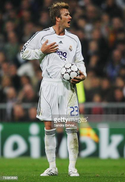 David Beckham of Real Madrid is seen during the UEFA Champions League round of sixteen first leg match between Real Madrid and Bayern Munich at the...