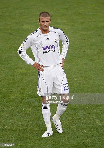 David Beckham of Real Madrid looks on during a La Liga match between Real Madrid and Mallorca at the Santiago Bernabeu stadium on June 17 2007 in...