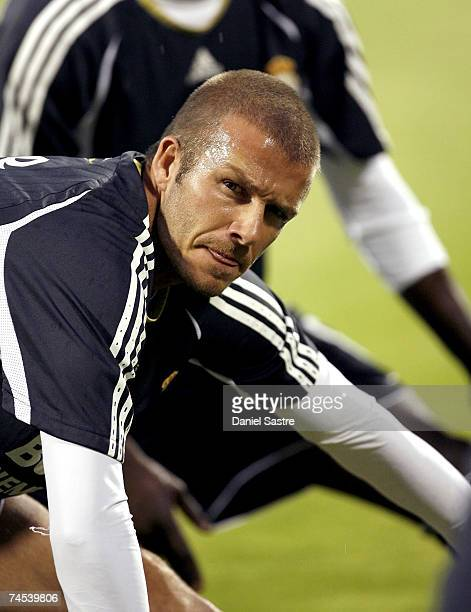 David Beckham of Real Madrid looks on prior to the La Liga match between Real Zaragoza and Real Madrid at the Romareda stadium on June 9, 2007 in...