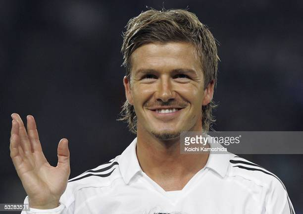 David Beckham of Real Madrid poses for photographers prior to playing a friendly game between Real Madrid and Tokyo Verdy 1969 on July 25, 2005 in...