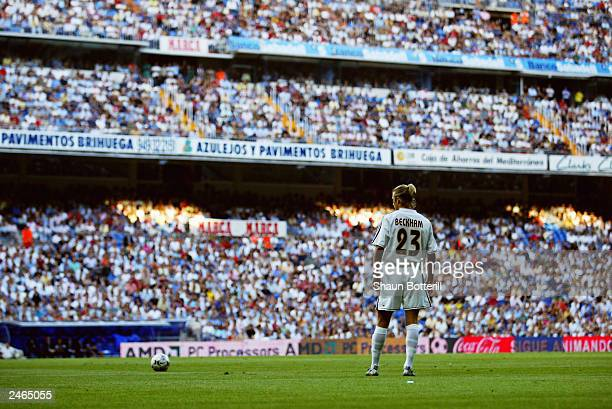David Beckham of Real Madrid prepares to take a freekick during the Spanish Primera Liga match between Real Madrid and Real Betis held on August 30...
