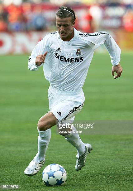David Beckham of Real Madrid runs down the ball during a friendly match against Chivas De Guadalajara on July 16 2005 at Soldier Field in Chicago...