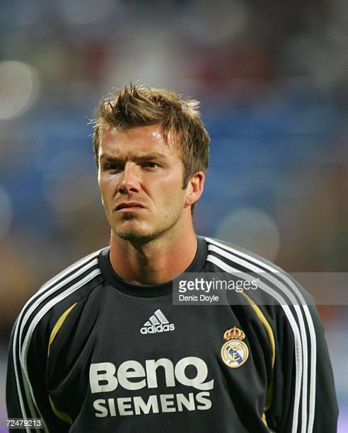 David Beckham of Real Madrid seen before the Kings Cup fourth round second leg match at the Santiago Bernabeu stadium on November 9 2006 in Madrid...