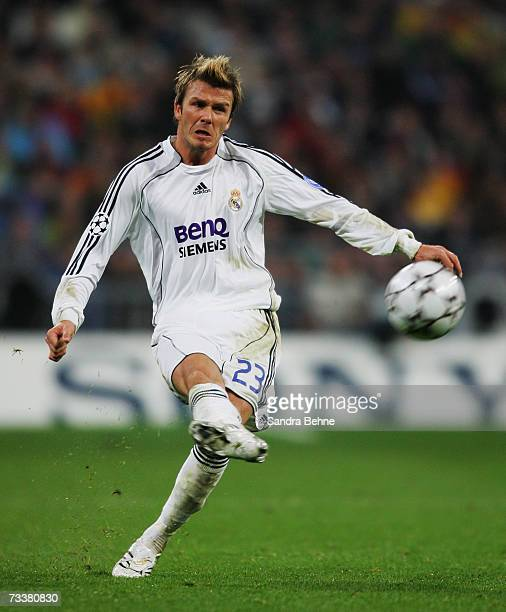 David Beckham of Real Madrid shoots the ball during the UEFA Champions League round of sixteen first leg match between Real Madrid and Bayern Munich...