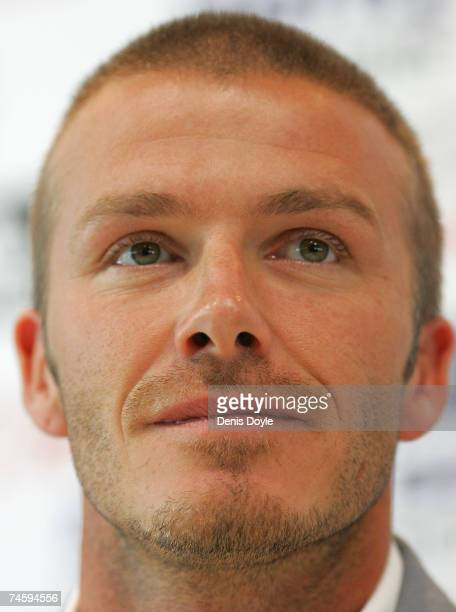 David Beckham of Real Madrid smiles during his last press conference as a Real player at the Valdebebas training grounds on June 14 2007 in Madrid...