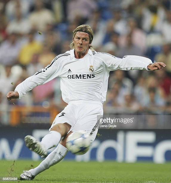 David Beckham of Real Madrid takes a free kick during a UEFA Champions League Group F match between Real Madrid and Olympiakos at the Bernabeu...