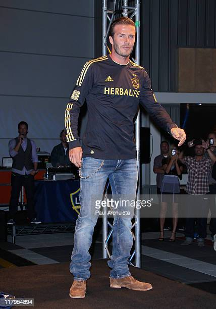 David Beckham of the LA Galaxy attends the 4th of July weekend kick-off party and the unveiling of the new 3rd jersey at L.A. Live on July 1, 2011 in...