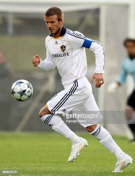 David Beckham of the LA Galaxy controls the ball during the match between the Oceania All Stars and the LA Galaxy at Mount Smart Stadium on December...