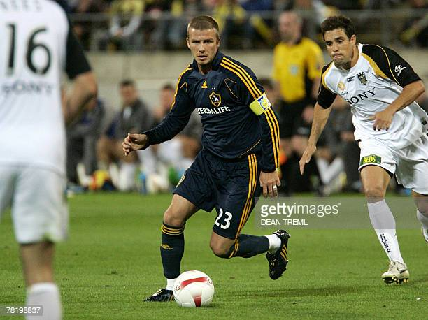 David Beckham of the LA Galaxy controls the ball during their exhibition match against the Wellington Phoenix at Westpac Stadium in Wellington 01...