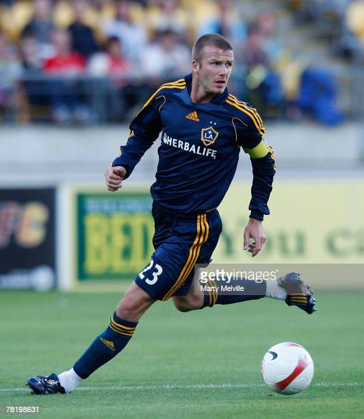 David Beckham of the LA Galaxy in action during the friendly match between Wellington Phoenix FC and the LA Galaxy held at the Westpac Stadium...