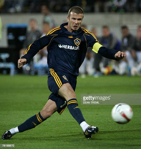David Beckham of the LA Galaxy takes a shot at goal during their exhibition match against the Wellington Phoenix at Westpac Stadium in Wellington, 01...