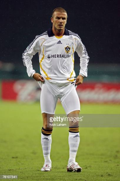 David Beckham of the Los Angeles Galaxy adjusts his shorts while playing against DC United at RFK Stadium on August 9 2007 in Washington DC
