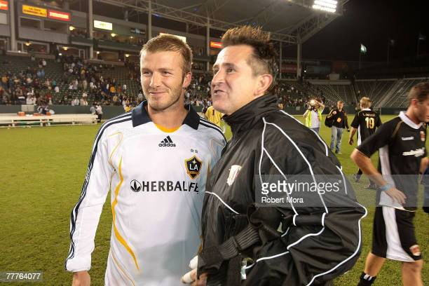 David Beckham of the Los Angeles Galaxy and Anthony Lapaglia following the celebrity soccer match against Hollywood United FC at Home Depot Center on...