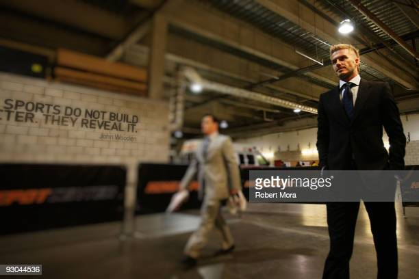 David Beckham of the Los Angeles Galaxy arrives prior to their MLS Western Conference Championship game against the Houston Dynamo at The Home Depot...
