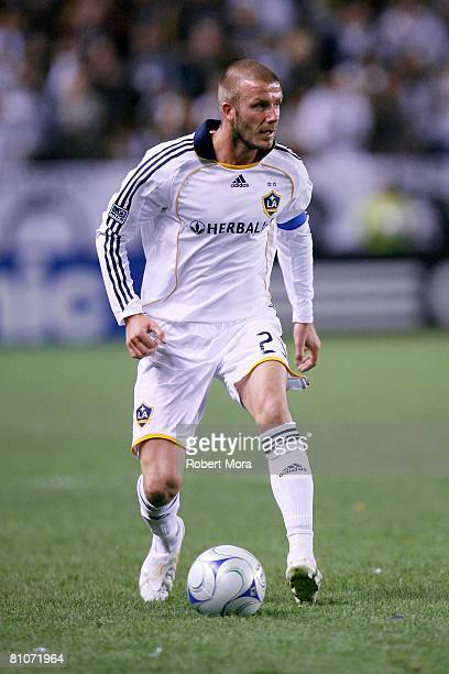 David Beckham of the Los Angeles Galaxy attacks the defense during the MLS game against the New York Red Bulls at Home Depot Center on May 10, 2008...