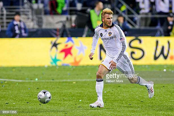 David Beckham of the Los Angeles Galaxy attacks the defense of Real Salt Lake during their MLS Cup game at Qwest Field on November 22 2009 in Seattle...