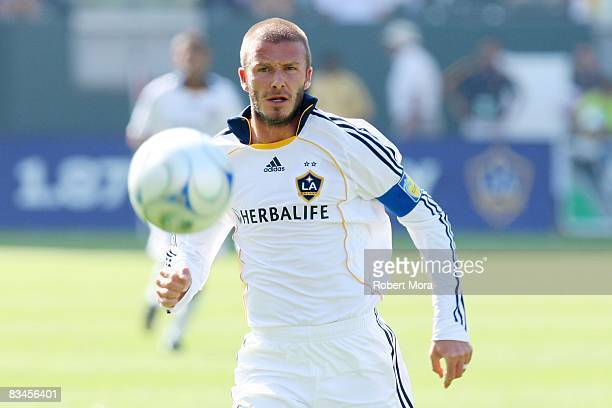 David Beckham of the Los Angeles Galaxy chases down a loose ball during their MLS game against FC Dallas at Home Depot Center on October 26 2008 in...